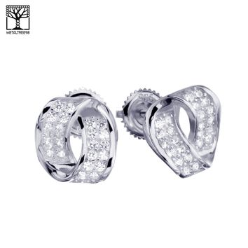 Jewelry Kay style Men's Women's Hip Hop Iced Out Twisted Oval CZ Screw Back Stud Earrings SHS 617