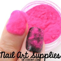 Shocking Pink Sweater Nails - Furry Velvet Flocking Nail Art Powder Mix