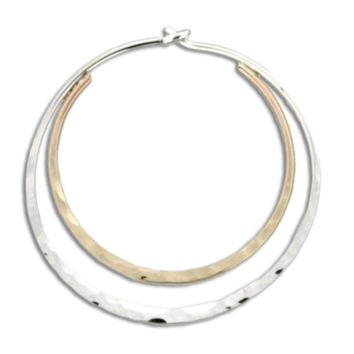 Hammered Double Hoop Earrings- Mix Metals