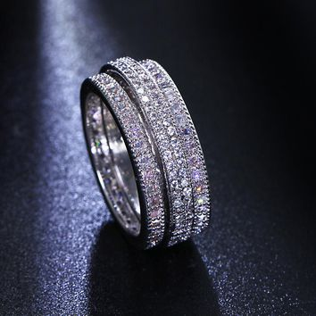New Cute Fashion Women Rings High Quality Copper Metal Rhodium Color Made With Cubic Zirconia Engagement Jewelry Gift Lead Free