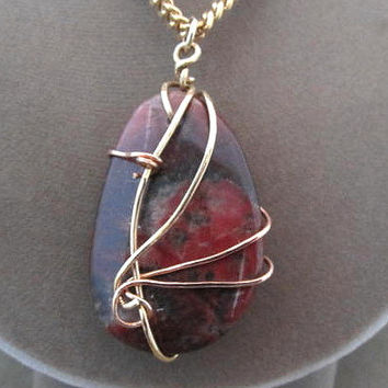 Jasper Stone Wire Wrapped Pendant Necklace Earth tones Bronze Metal