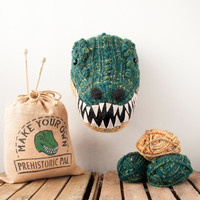 Faux T-Rex Knitting Kit - Make Your Own Prehistoric Pal - Taxidermy Trophy Head