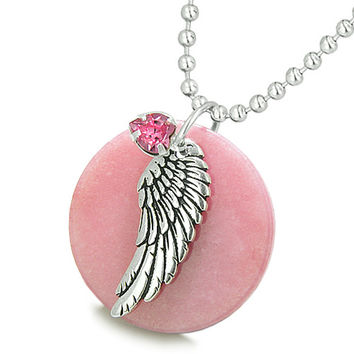 Angel Wing Pink Quartz Medallion Pink Crystals Heart Feather Pendant 22 Inch Necklace
