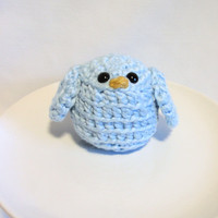 BABY BLUE Bird crocheted with organic cotton, amigurumi , baby showers, nursery decor, pin cushion, get well gift