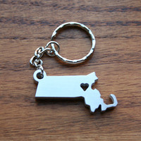 Massachusetts Lovin' - Metal Keychain - Christmas Gift