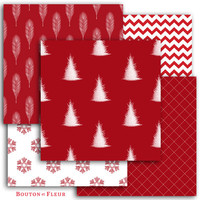 Red White Christmas Digital Paper Pack - Patterns Backgrounds for Scrapbooking, Craft and Design Projects