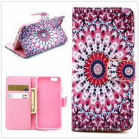 Hight Qulity Ethnic Minorities Totem Print PU Leather Case Cover Wallet for iPhone 6 / iPhone plus