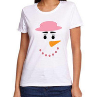 Snowman snowwoman shirt available in size s, med, large, and Xl for juniors girls and women, holiday shirt