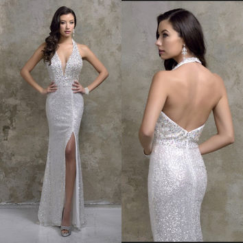 robe de soiree Longo 2017 Slim Halter Backless Beaded Women Pageant Prom Gown Custom Silver Sequin Mermaid Long Evening Dress