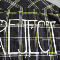 """5 Seconds of Summer 5SOS """"REJECT"""" Long Sleeve Flannel Mens L"""
