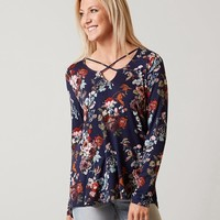 Daytrip Floral Top - Women's Shirts/Blouses in Navy | Buckle