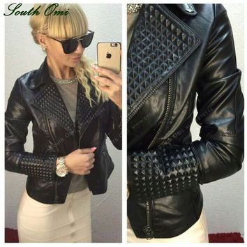 Faux Leather Jacket Women Stud/rivet Moto Biker Zip Coats chaqueta Blazer PU Jack jaqueta couro Rock cuir femme casaco 2016