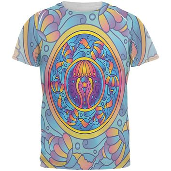 Mandala Trippy Stained Glass Jellyfish All Over Mens T Shirt