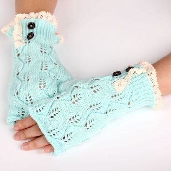 2016 New Fashion Women Warm Lace Fingerless Gloves Soft Knitted Autumn Winter Knit Gloves Button Mittens Golves Hot 5Colors