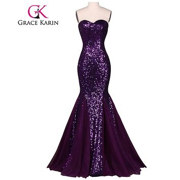 Grace Karin Sequin Long Evening Dress 2017 Sparkly Dark Salmon Purple Elegant Formal Dresses Mermaid Evening Gowns High Quality