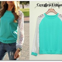 COWGIRL STYLE White Lace Sleeve on Aqua Blue Pullover Sweatshirt Top Western Gypsy Apparel Lace Boho Chic