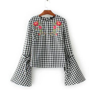 ONETOW Fashion 2017 Floral Embroidery Plaid Shirt Crop Blouse O Neck Flare Sleeve Brand Women Tops Plus Size OLYZ1716