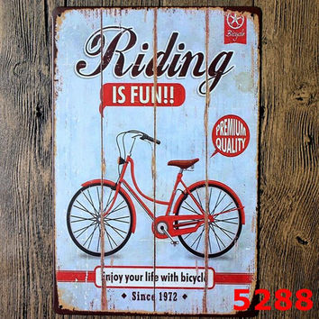 Riding is fun! Enjoy your life with bicycle! I want to ride my bicycle! vintage tin signs retro metal plate sign wall decoration