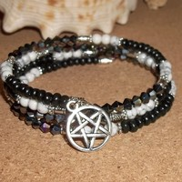 Plus Size Elegance Wiccan Black Shimmer Swarovski Crystal, White Marble, & Black Wood Artisan Crafted Wrap Bracelet