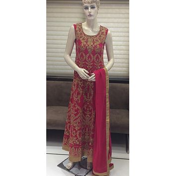 Beautiful Magenta Richly Embroidered Sleeveless Festive Floor Length Long Anarkali Gown