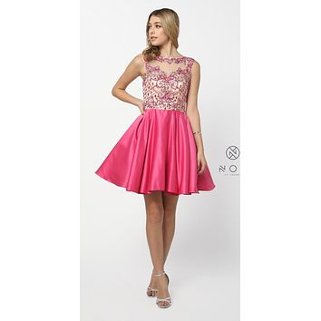 Fuchsia Appliqued Homecoming Short Dress Sleeveless