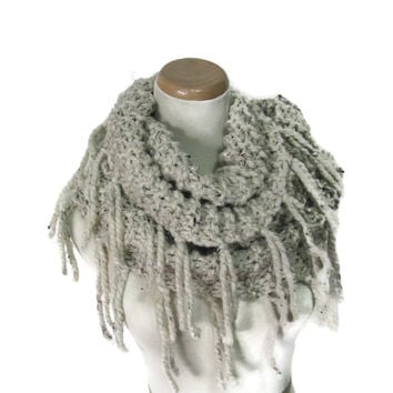 Knit Infinity Scarf, Knit Cowl, Bulky Infinity Scarf, Gift For Her, Fashion Accessory, Hand Knit Scarf, Circle Scarf, Women, Beige Scarf