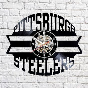PITTSBURGH STEELERS HANDMADE VINYL RECORD WALL CLOCK FAN GIFT