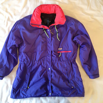 Vintage 80s Neon Ski Jacket CB Sports Blue, Hot Pink and Neon Green c.1989