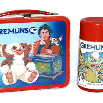 Vintage 80s Gremlins Metal Aladdin Lunch Box with Thermos