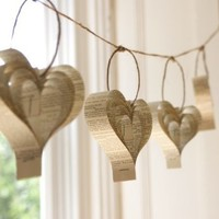 Shakespeare book paper garland hearts soft neutral by bookity