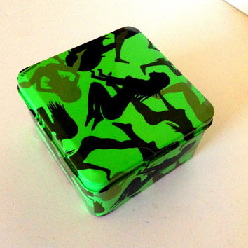 Green stash box, tin, metal, camo, booty, sexy women, medical marijuana, weed, 420