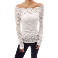 Women Blouses Off Shoulder Slash Neck Lace Crochet Shirts Long Sleeve Slim Casual Tops Blouse Plus Size