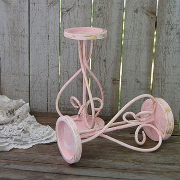 Pink, white and gold pillar candle holders