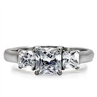Malena: Hearts-n-Arrows Princess Cut Ice on Fire CZ 3 Stone Engagement Ring 316 Steel, 3033