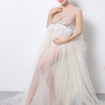 Ivory Sheer Lace Maternity Dresses Feather Trim Long Gown Photo Prop CCO36
