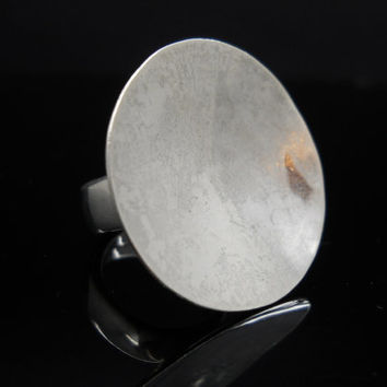 Sterling Silver Ring Large Concave Dish Hammered Size 7.5 Designer Jewelry Thick Wide Band 926