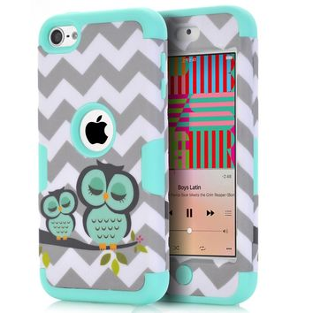 For iPod Touch 6 Owls Case Covers Anti-Knock Hybrid Hard&Silicone Phone Cases Fundas w/Screen Protector Film+Stylus Pen Gifts