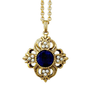 Lapis Blue Necklace With Faux Pearls - Fleur De Lis Necklace, Blue Necklace, Avon Viennese, Lapis Blue Jewelry, Long Necklace, Vintage Avon