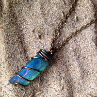 Aqua Aura Quartz Crystal Necklace Aura Crystal Necklace Raw Crystal Healing Crystals and Stones Wrapped Crystal Wire Wrapped Mermaid Crystal