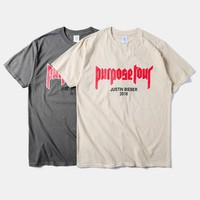 New fashion 2016 mens hip hop tops tee shirts Justin Bieber Fear Of God Purpose Tour t shirt tshirts for men