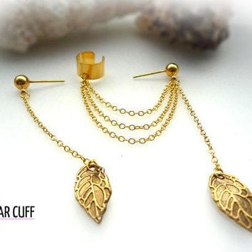 Simple Leaf Ear Cuff GOLD plus Extra Stud With Chain And Leaf
