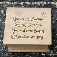 Music box you are my sunshine - Wooden music box - Engraved music box with You are my sunshine on the top, custom gift by Simply cool gifts