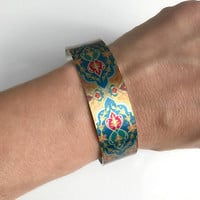 Metal Cuff Bracelet, wide silver adjustable orange blue bohemian bangle hippie multicolor birthday gift for her