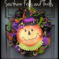 Pumpkin Deco Mesh Halloween Wreath
