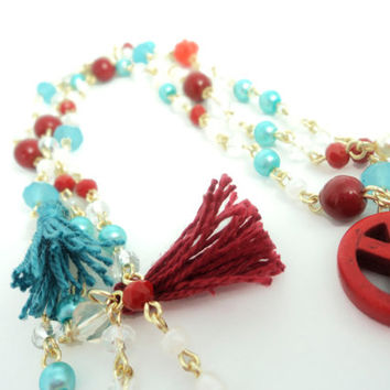 Long Rosary necklace / tassel necklace with Czech crystals turquoise blue and coral red