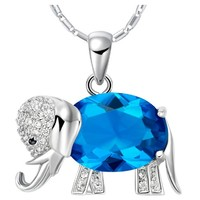 White Gold Plated Blue Crystal Elephant Pendant Necklace
