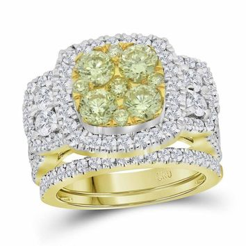14kt Yellow Gold Women's Round Yellow Diamond Bridal Wedding Engagement Ring Band Set 3.00 Cttw - FREE Shipping (US/CAN)
