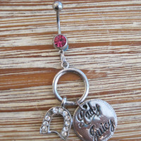 Belly Button Ring - Body Jewelry Horseshoe and Juicy charm with Pink Gem Stone Belly Button Ring