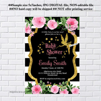 Fairy Baby Shower Invitation Baby birthday invite, fairy girl Shower Invite party Invitation, baby girl shower, fiary - card 1120