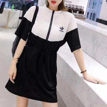 """Adidas"" Sport Casual Fashion Multicolor Letter Print Short Sleeve Zip Small Turtleneck Dress"